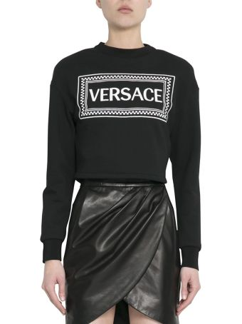 Versace Black Cotton Logo Sweatshirt