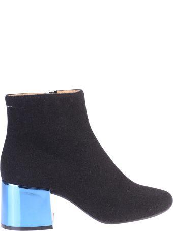 MM6 Maison Margiela Black Metallic Heel Ankle Boots