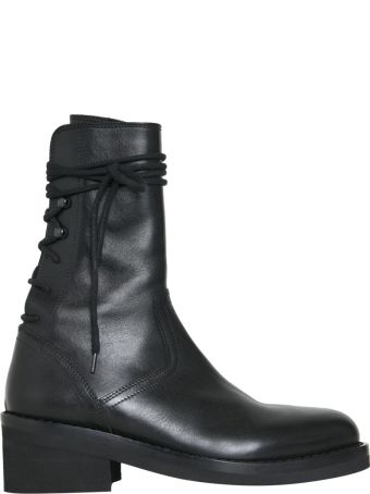 Ann Demeulemeester Leather Laced Ankle Boots