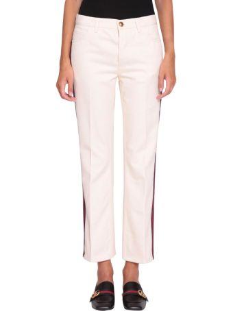 Gucci Web Flare Denim Cotton Trousers