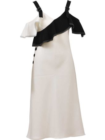 self-portrait Monochrome Frill Midi Dress