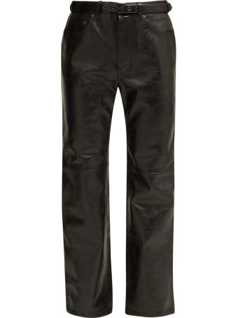 Acne Studios High-rise Belted Leather Trousers