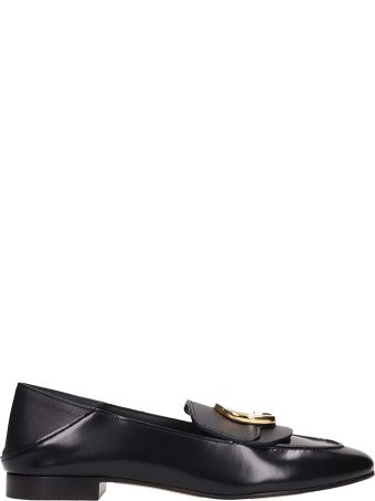 Chloé Black Shinny Calf Leather Loafers