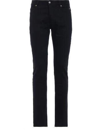 Balmain Black Stretch Cotton Denim Five Pockets Jeans