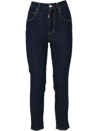 Dsquared2 Blue Cotton High Waist Jeans.