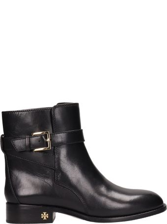 Tory Burch Brooke Black Calf Leather Ankle Boots