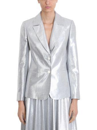 Diane Von Furstenberg Classic Silver Metallic Blazer