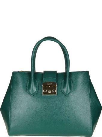 """Furla """"metropolis M"""" In Green Leather"""