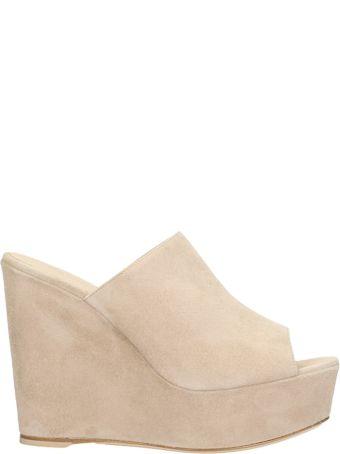 Dei Mille Beige Suede Leather Wedge Sandals