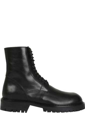 Ann Demeulemeester Black Leather Army Boots