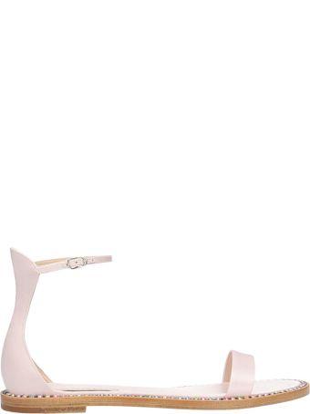 Casadei Pink Satin Flat Sandals