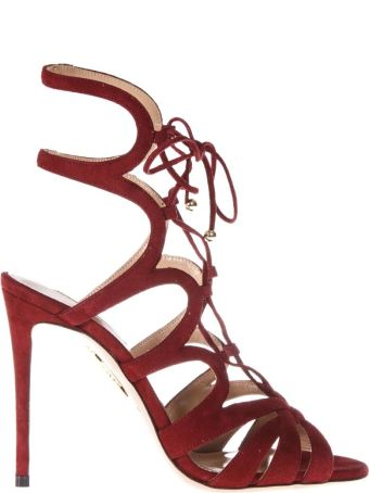 Aquazzura Red Open Laced Up Sandals In Suede