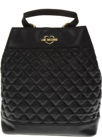 Love Moschino Black Faux Leather Quilted Backpack