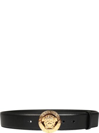 Versace Black Leather Medusa Belt