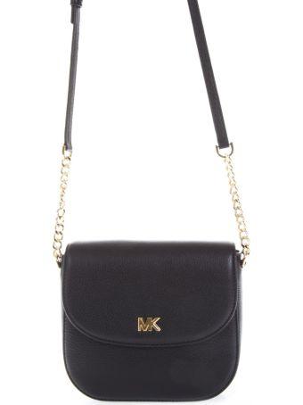 MICHAEL Michael Kors Black Mott Dome Shoulder Bag In Leather