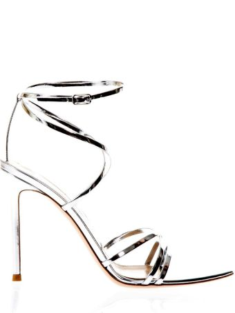 Gianvito Rossi Metarge Silver Sandals In Leather