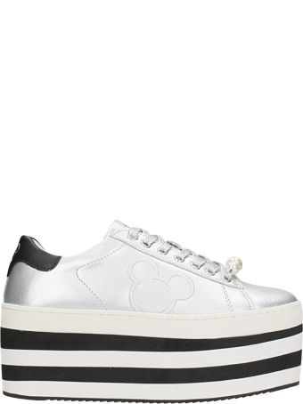 M.O.A. master of arts Silver Leather Mickey Mouse Platform Sneakers