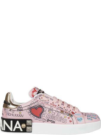 Dolce & Gabbana Portofino Mural Print Sneakers