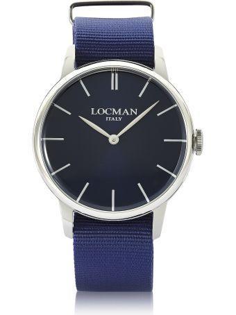 Locman 1960 Stainless Steel Men's Watch W/blue Canvas Strap