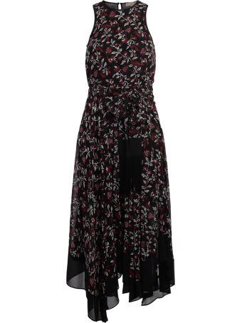 Michael Kors Black Georgette Dress With Floral Pattern.