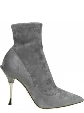 Dolce & Gabbana Suede Boots Color Gray Smoky