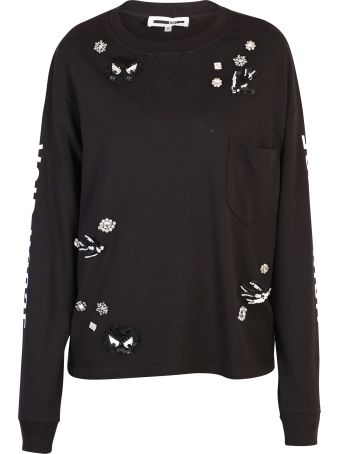 McQ Alexander McQueen Black Shiny Detailed Sweatshirt