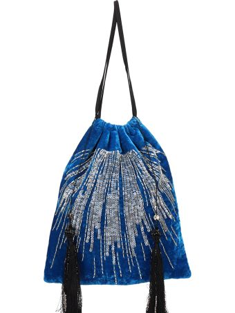 ATTICO Blue Velvet Clutch Bag