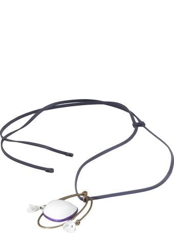 Marni Leather And Ceramic Necklace