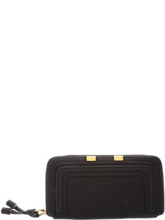 Chloé Marcie Black Leather Zip Around Wallet