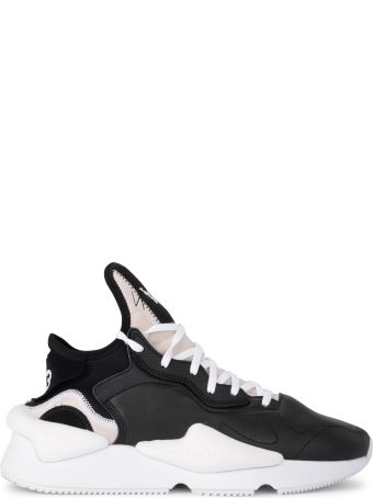 Y-3 Kaiwa Black And White Leather And Neoprene Sneaker