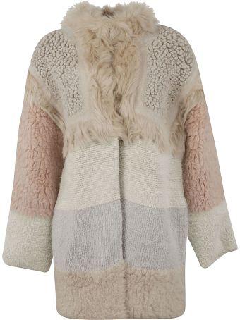 Stella McCartney Color-block Oversized Shearling Coat