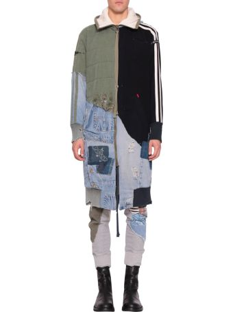 Greg Lauren Wool And Cotton Patchwork Parka