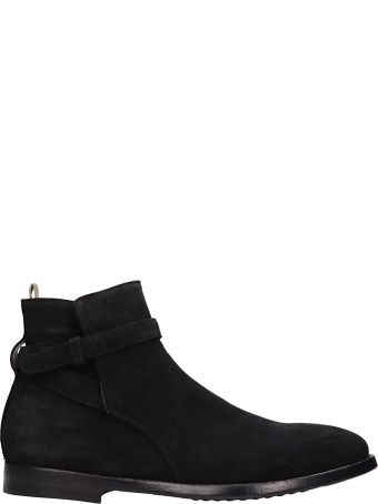Officine Creative Black Suede Ankle Boots In Black Suede