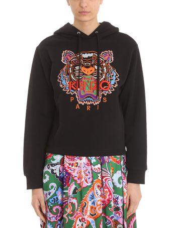 Kenzo Tiger Hoodie Black Cotton Sweatshirt