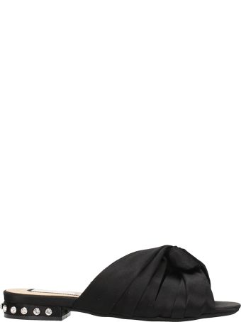 N.21 Bow Black Satin Flat Sandals