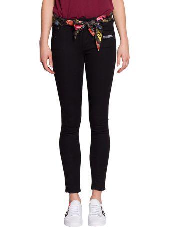 Off-White Scarf Detail Cotton Denim Jeans