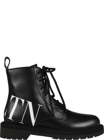 Valentino Logo Print Combat Boots