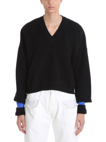 Maison Margiela Black Wool V Neck Sweater