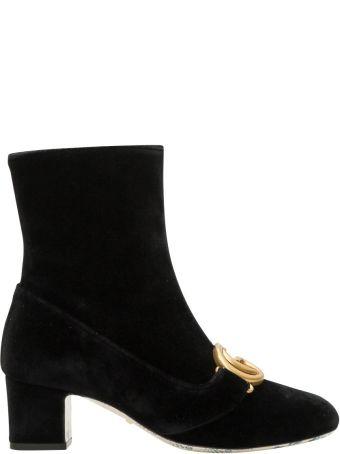 Gucci Victoire Bootie Velvet Mid Heel
