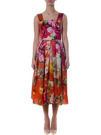 Dolce & Gabbana Red Silk And Multicoloured Floral Print Dress