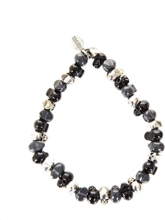 Alexander McQueen Brass Bracelet With Pearls & Skull Details