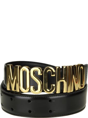 Moschino Belt In Black Leather With Logo