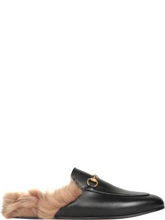 Gucci Fur-trimmed Princetwon Leather Slippers