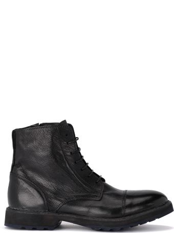 Moma Buffalo Black Leather Ankle Boots With Zip