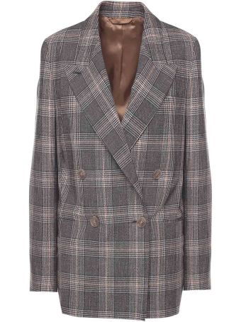 Acne Studios Prince Of Wales-check Double-breasted Wool-blend Blazer