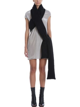 Rick Owens Black Cotton And Feather Down Padded Scarf