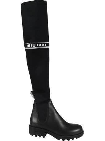 Miu Miu Logo Sock-detailed Boots