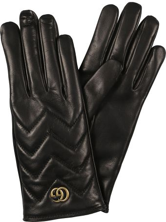 Gucci Chevron- Quilted Leather Gloves