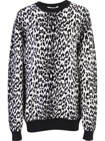 Givenchy White And Black Leopard Motif Sweater