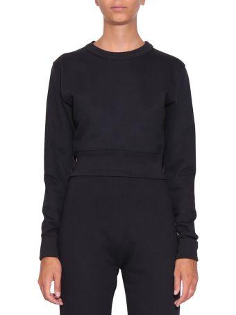 A plan application Navy Cotton Cropped Sweatshirt